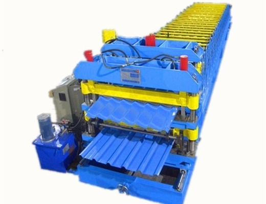 3 Phase Colored Steel Glazed Tile Roll Forming Machine With 1 Year Warranty roof roll forming machine